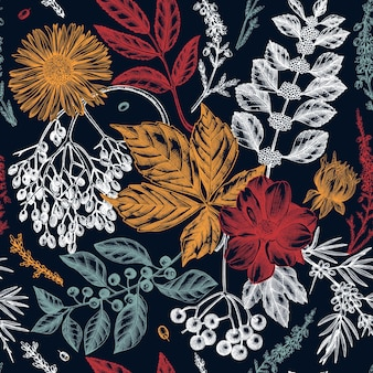 Fundo botânico elegante com folhas de outono, frutos, flores e esboços de ramos