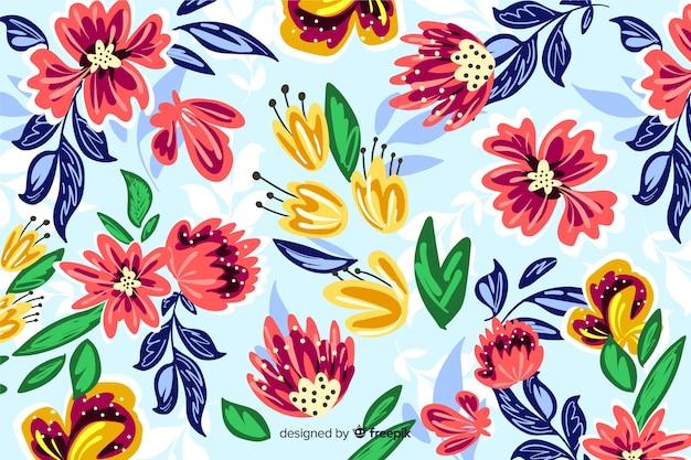 Fundo botânico pintado à mão