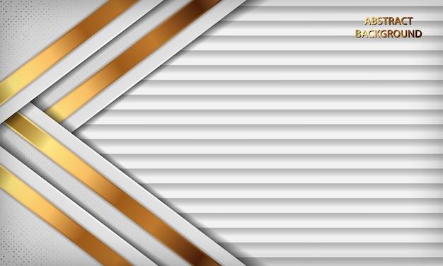 Fundo branco 3d luxuoso com linhas douradas