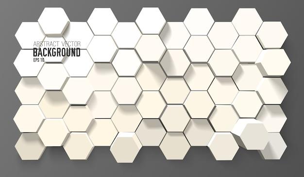 Fundo branco abstrato com hexágonos geométricos