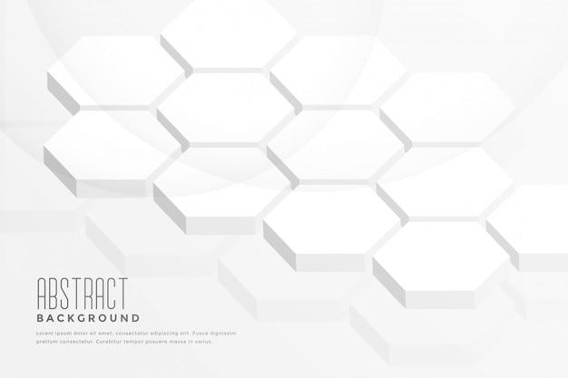 Fundo branco abstrato de forma hexagonal 3d