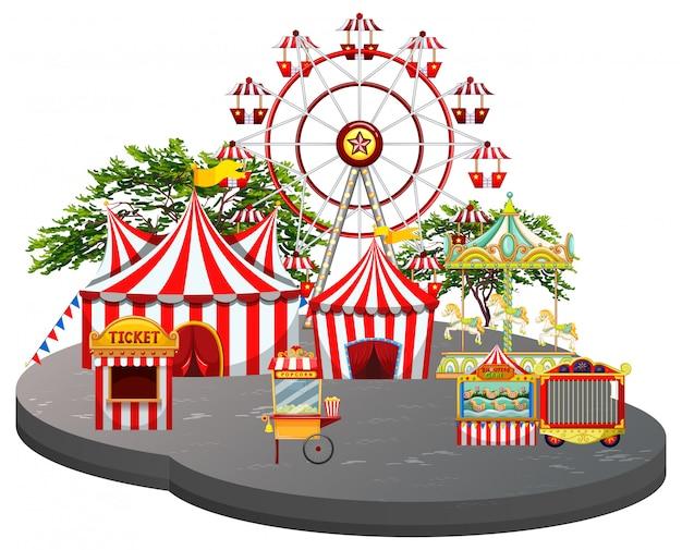 Fundo branco cena de feira de diversões