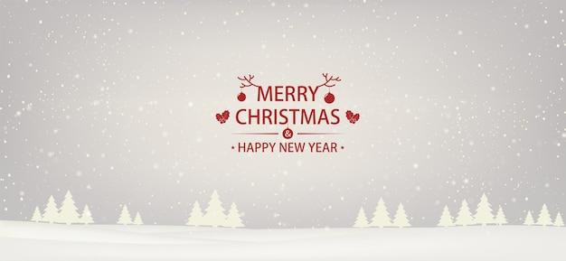 Fundo branco coberto de neve de natal e ano novo com árvores de natal.