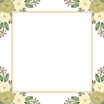 Fundo branco com arranjo borda do buquê de rosas amarelas