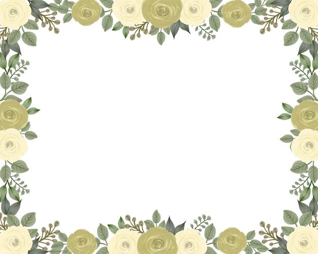 Fundo branco com arranjo de borda de rosas amarelas