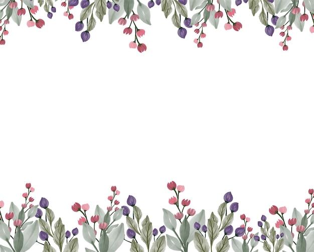 Fundo branco com arranjo de flores silvestres em cores