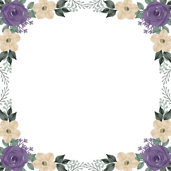 Fundo branco com arranjo de rosas roxas e borda de flor branca para cartão de felicitações