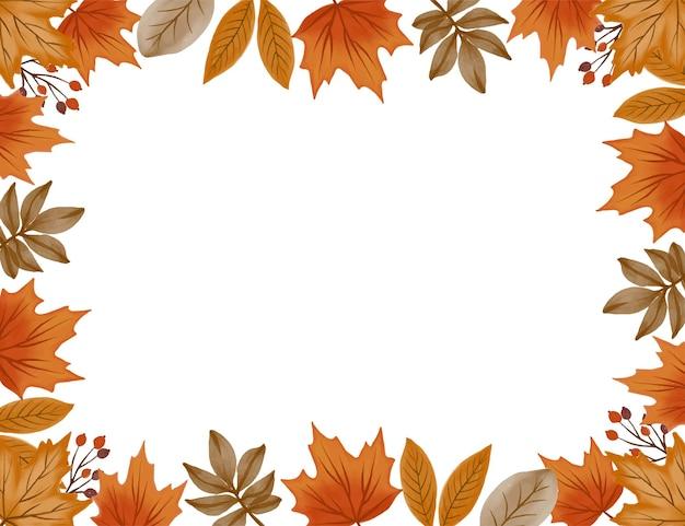 Fundo branco com arranjo folhas de outono borda