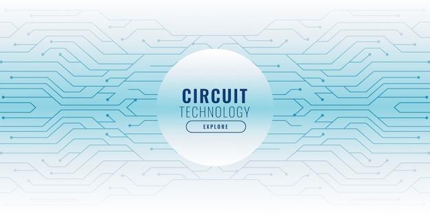 Fundo branco com banner de tecnologia de linhas de circuito
