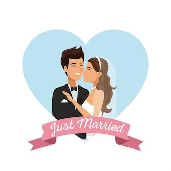 Fundo branco com casal casado