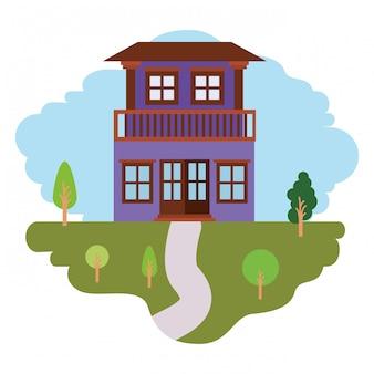 Fundo branco com cena colorida da paisagem natural e casa com dois andares e varanda