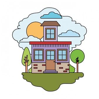 Fundo branco com cena colorida da paisagem natural e casa com pequeno sótão em dia ensolarado