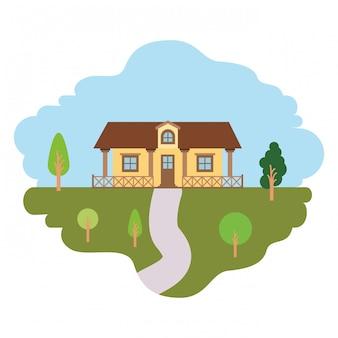 Fundo branco com cena colorida da paisagem natural e casa de campo com corrimão