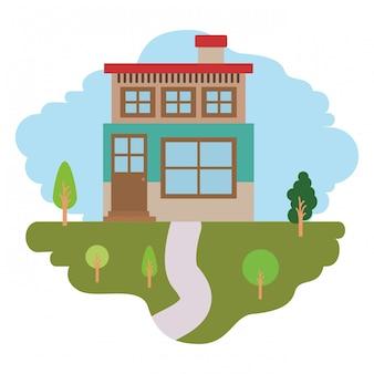Fundo branco com cena colorida da paisagem natural e casa de dois andares com chaminé