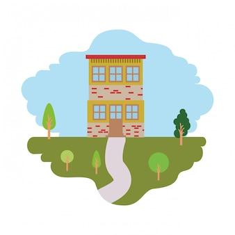Fundo branco com cena colorida da paisagem natural e casa de dois andares