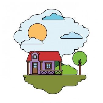Fundo branco com cena colorida da paisagem natural e casa de fachada com corrimão e sótão em dia ensolarado