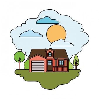 Fundo branco com cena colorida da paisagem natural e casa de fachada com garagem e sótão em dia ensolarado