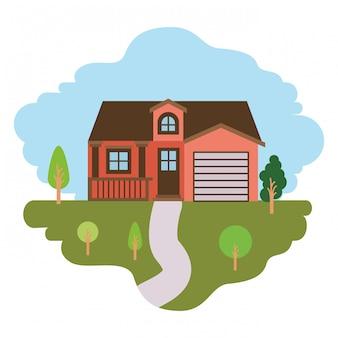 Fundo branco com cena colorida da paisagem natural e casa de fachada com garagem e sótão