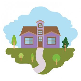 Fundo branco com cena colorida da paisagem natural e casa de fachada com sótão