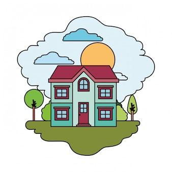 Fundo branco com cena colorida da paisagem natural e casa de fachada de dois andares em dia ensolarado