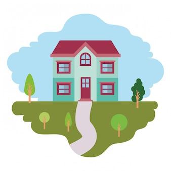 Fundo branco com cena colorida da paisagem natural e casa de fachada de dois andares