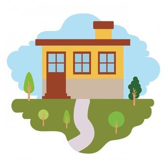 Fundo branco com cena colorida da paisagem natural e fachada pequena casa com chaminé