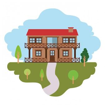 Fundo branco com cena colorida de paisagem natural e casa de campo de dois andares com corrimão