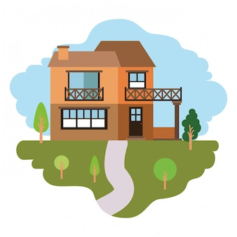 Fundo branco com cena colorida de paisagem natural e casa de campo de dois andares e varanda