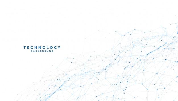 Fundo branco com conexão de linhas digitais de baixo poli