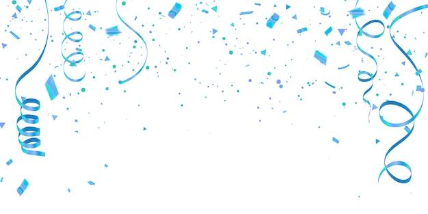 Fundo branco com confetes azuis fitas de carnaval de celebração.