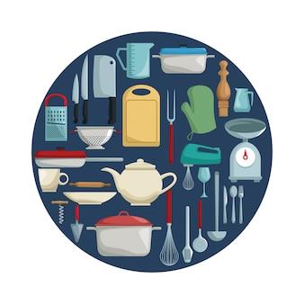 Fundo branco com cor circular com diferentes elementos de cozinha dentro