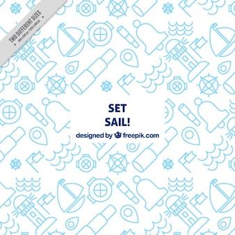 Fundo branco com elementos náuticos azuis