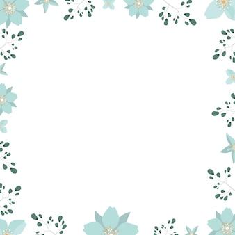 Fundo branco com flores e folhas