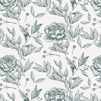 Fundo branco com flores.
