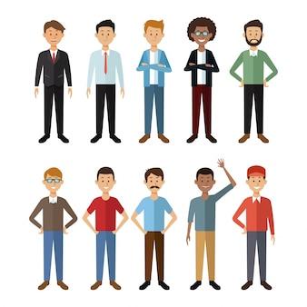 Fundo branco com grupo de corpo inteiro pessoas do sexo masculino