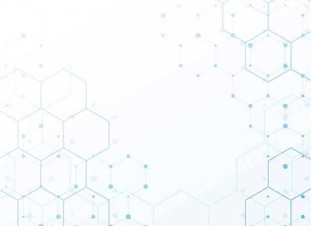 Fundo branco com hexágono de tecnologia azul