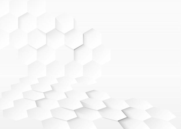 Fundo branco com hexágonos