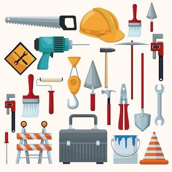 Fundo branco com ícones coloridos de ferramentas de construção