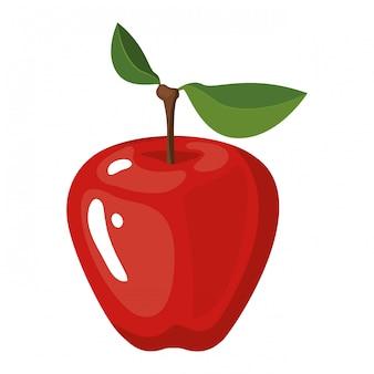 Fundo branco com ilustração vetorial de fruta maçã realista