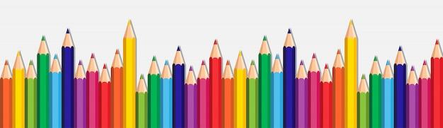 Fundo branco com lápis coloridos definido