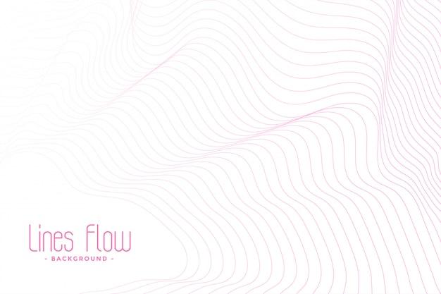 Fundo branco com linhas fluidas rosa