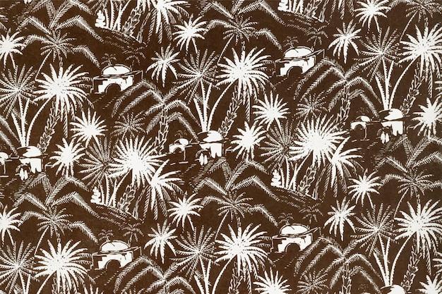 Fundo branco com padrão de palmeira, remixado da coleção de obras de arte