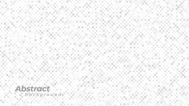 Fundo branco com padrão de pontos abstratos.