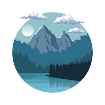 Fundo branco com paisagem noturna em moldura redonda com montanhas e rio