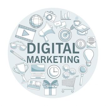 Fundo branco com seções de cor do quadro circular com ícones marketing digital