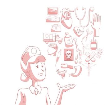 Fundo branco com seções de cor vermelha da enfermeira da silhueta com ícones flutuantes saúde