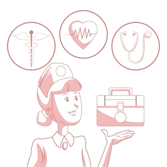 Fundo branco com seções de cor vermelha da enfermeira de silhueta com kit de floatto primeiros socorros e elementos de saúde em moldura circular