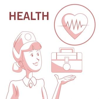 Fundo branco com seções de cor vermelha da enfermeira de silhueta com o primeiro kit de ajuda e ícone pulsação do coração