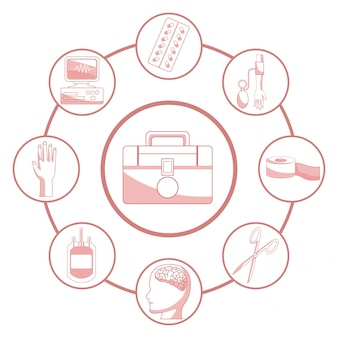 Fundo branco com seções de cor vermelha da silhueta primeiro kit ajuda conectado a elementos de quadros circulares saúde