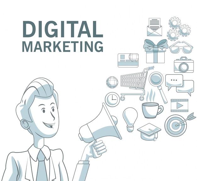 Fundo branco com seções de cores de empresário segurando megafone de ícones de difusão texto de marketing digital